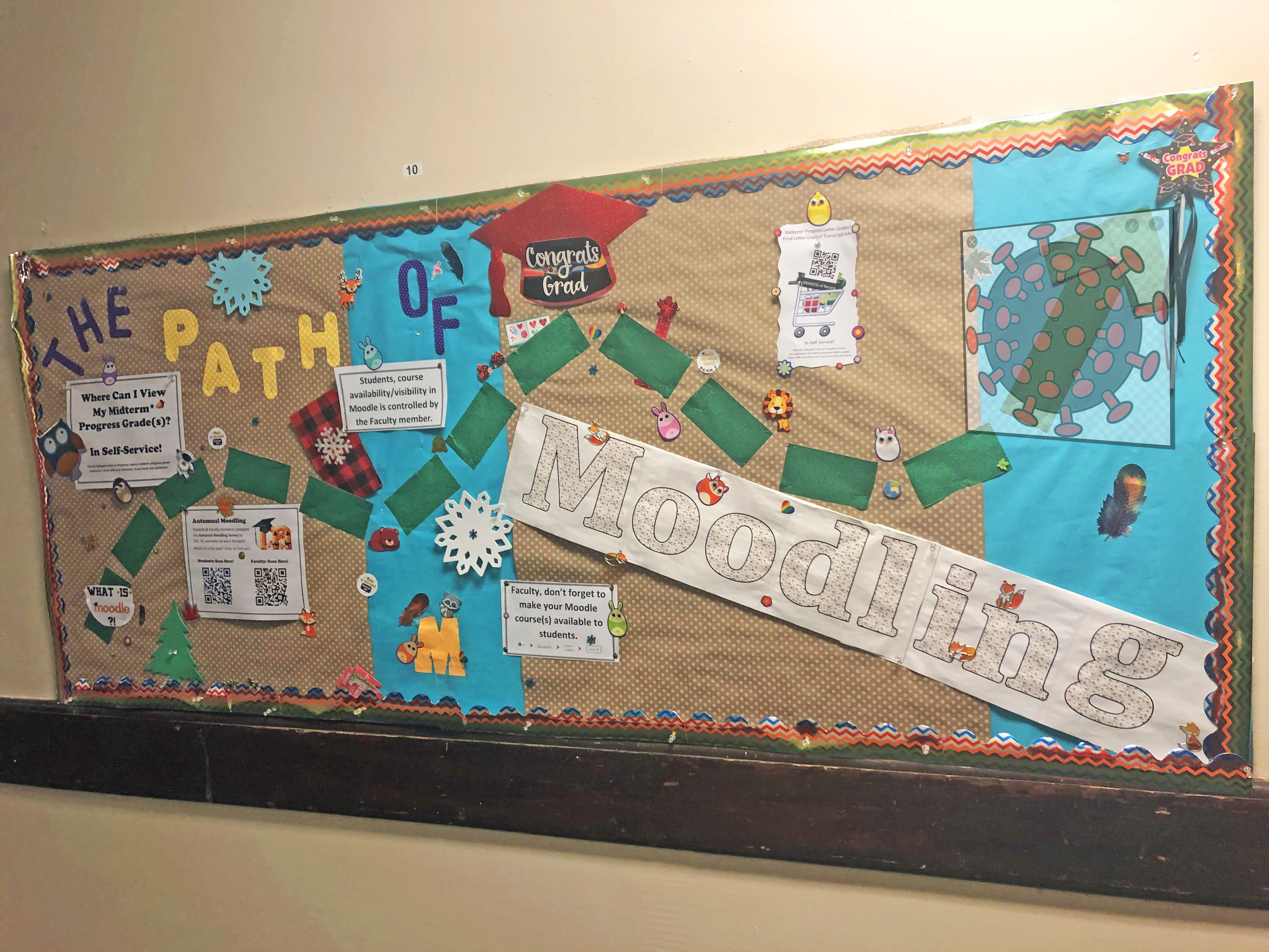 bulletin board with text 'the path to moodling' and many stickers
